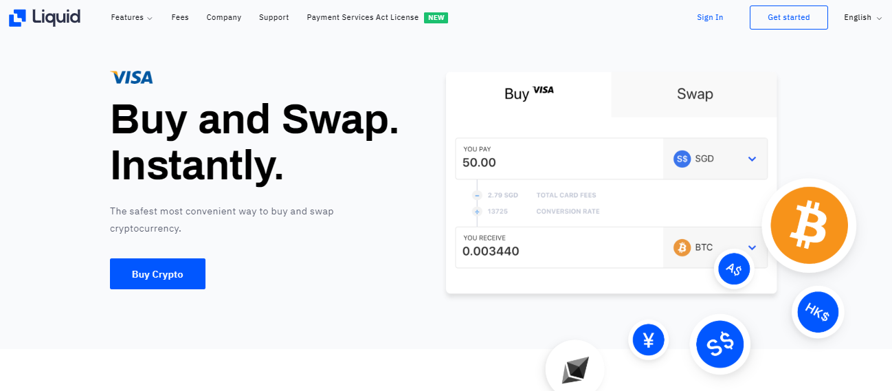 buy and sell crypto instantly using Liquid
