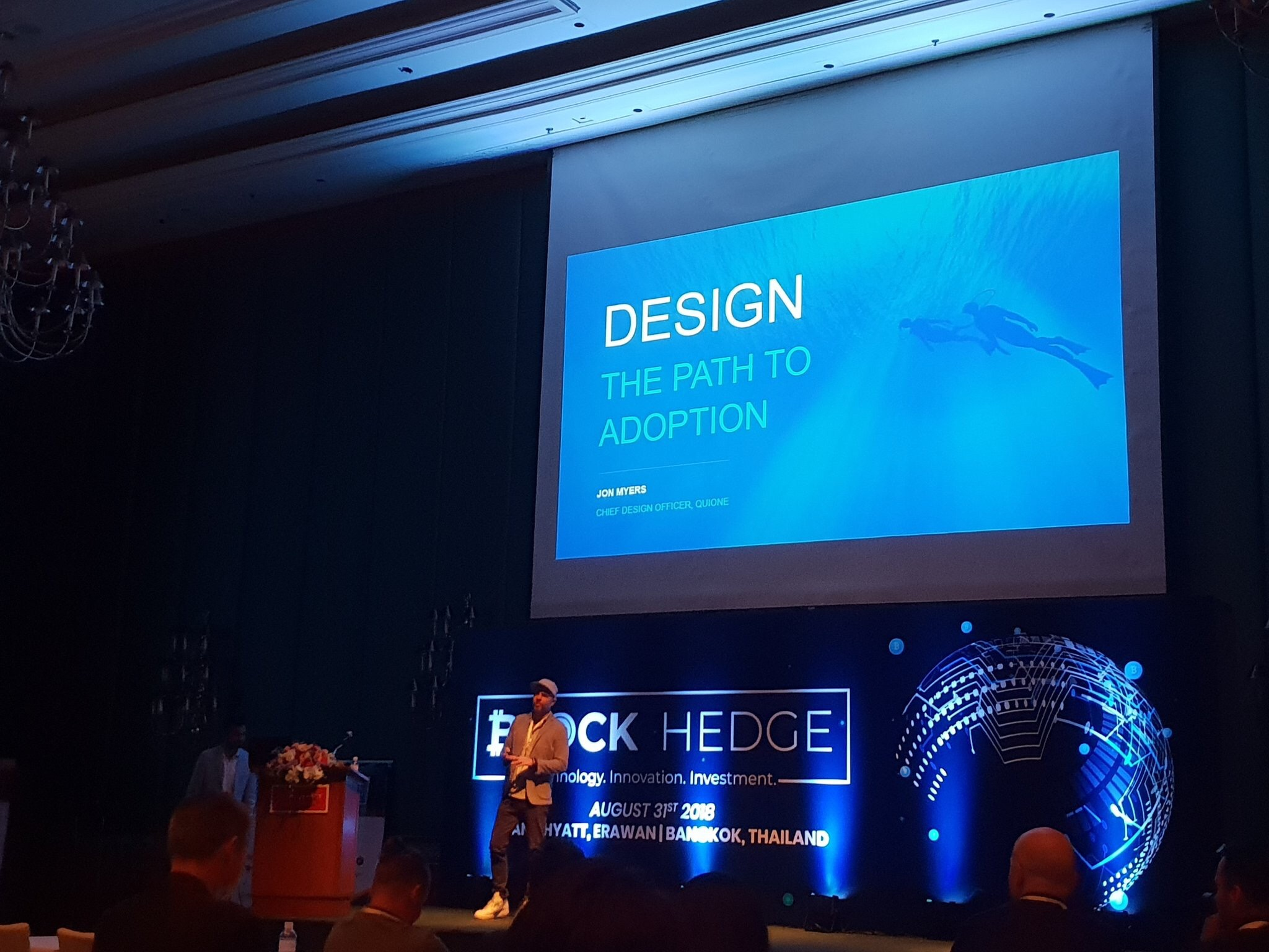 Liquid Chief Design Office Jon Myers at Block Hedge crypto conference
