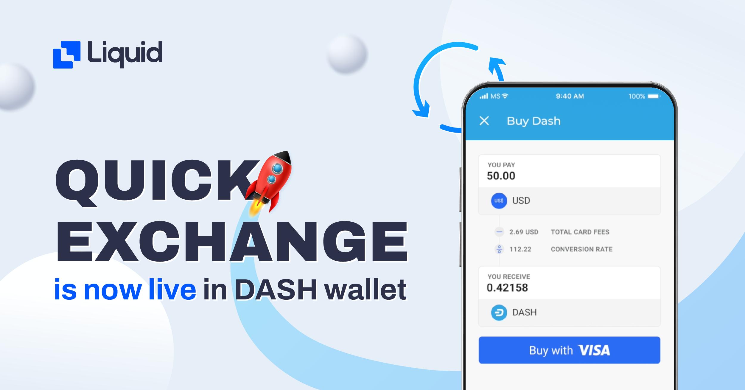 quick exchange now in DASH mobile app wallet