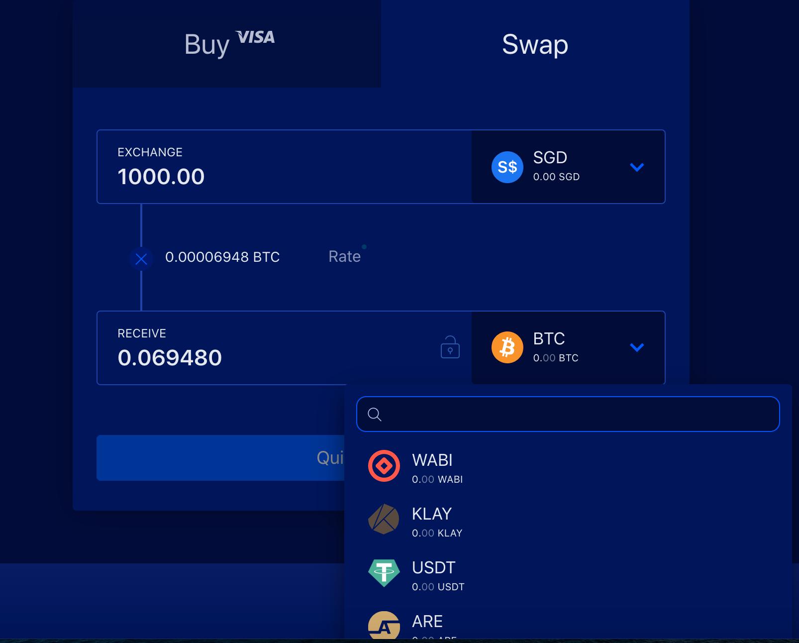 Enter crypto to swap